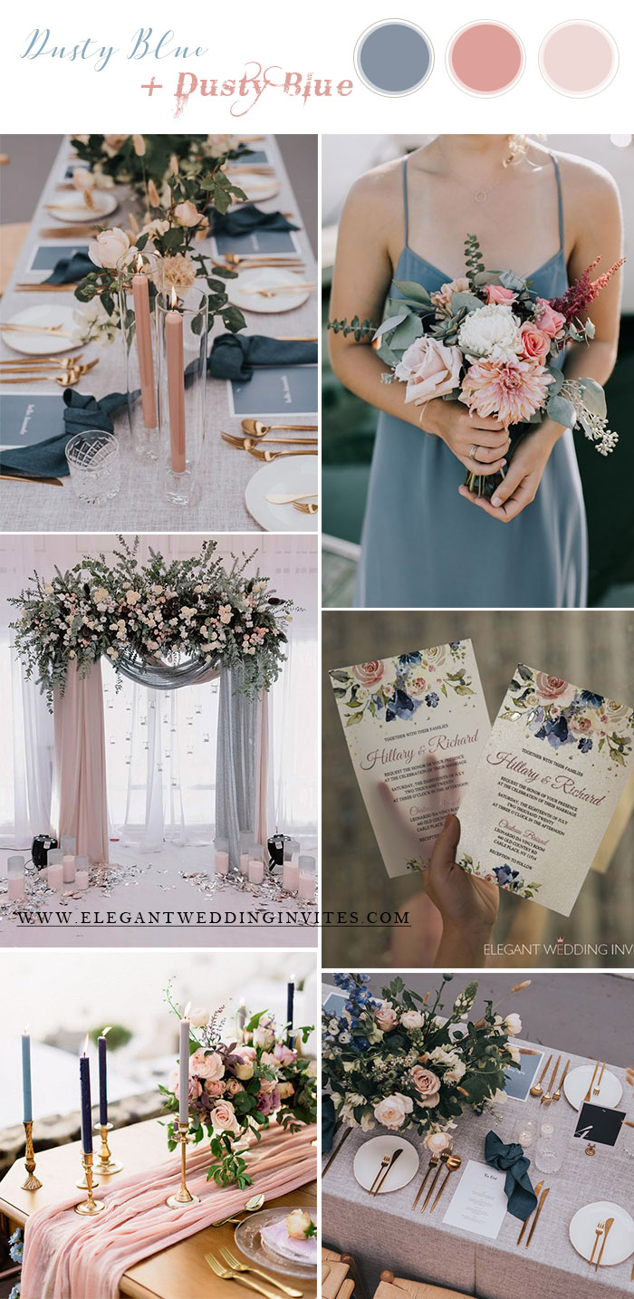 dusty blue and dusty rose spring and summer wedding colors