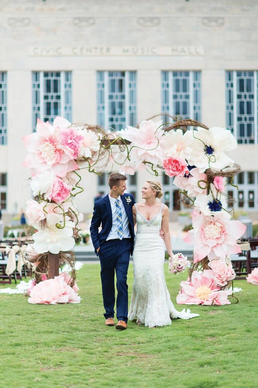 fairy blush paper floral wedding arches
