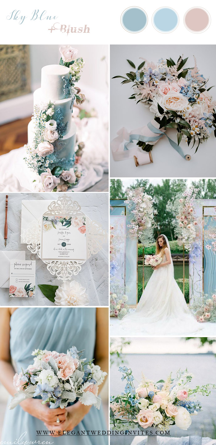 fairytale dreamy sky blue and blush wedding color combos