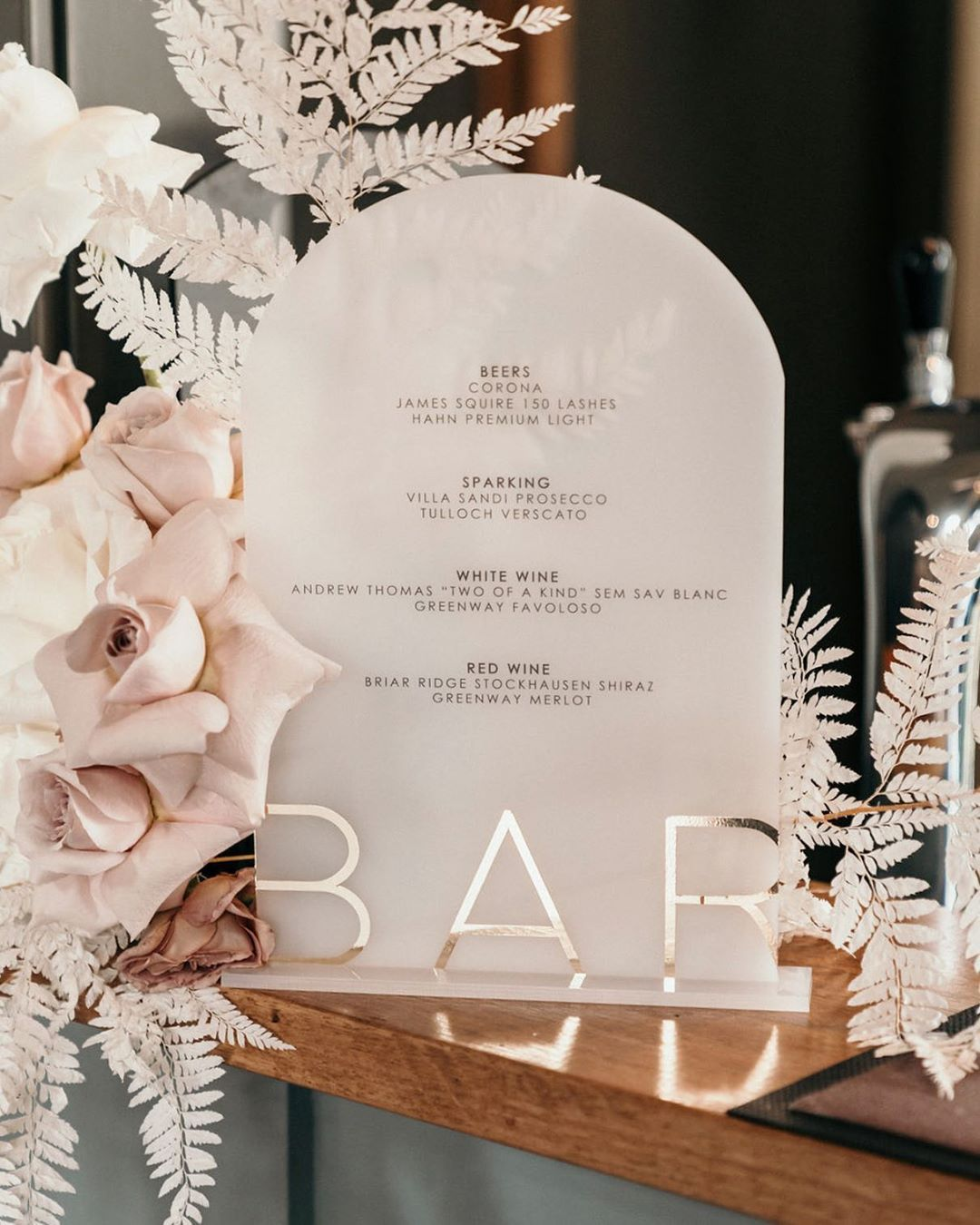foil printed forsted acrylic wedding bar display