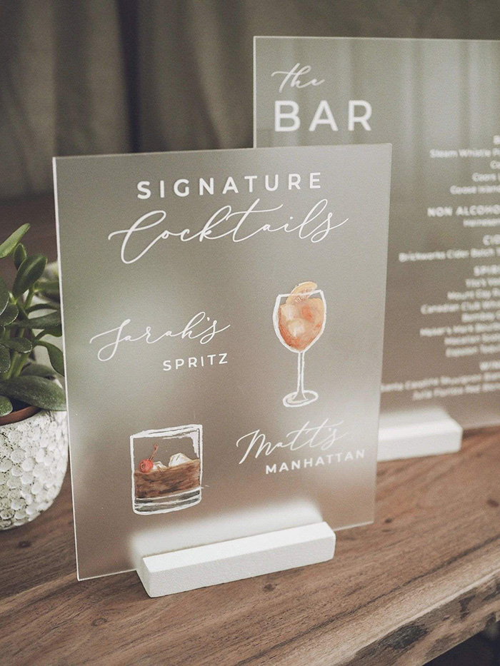 frosted acrylic signature cocktail wedding sign