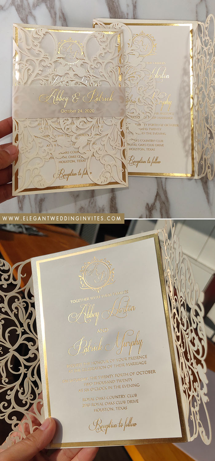 ivory and champagne gold modern laser cut wedding invites