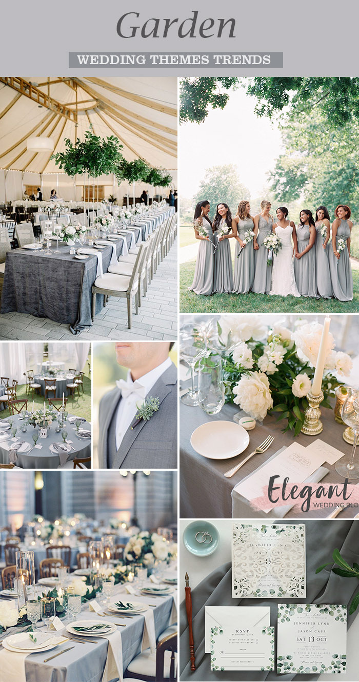 light grey and white garden classic wedding colors