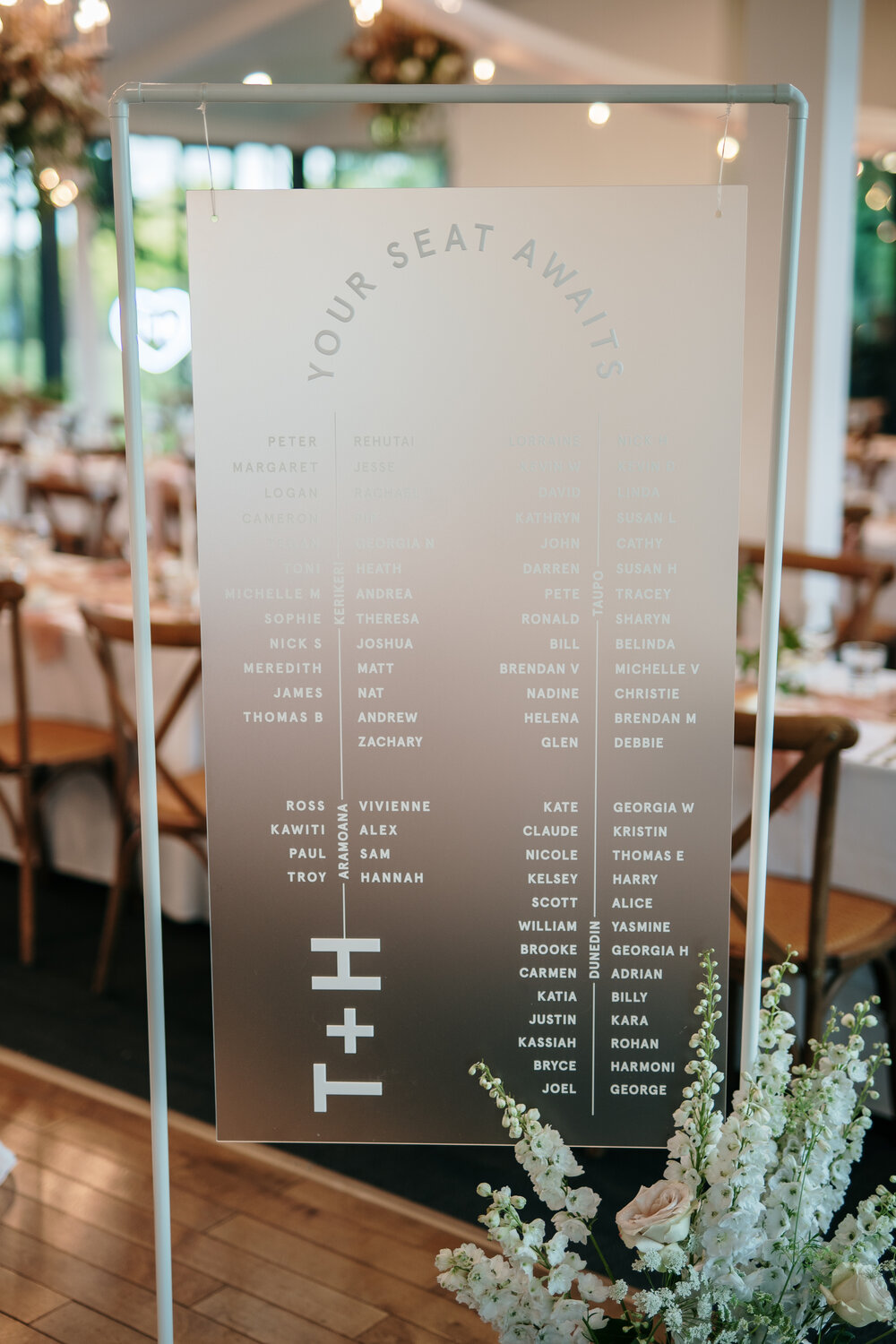 modern chic frosted acrylic wedding seating chart
