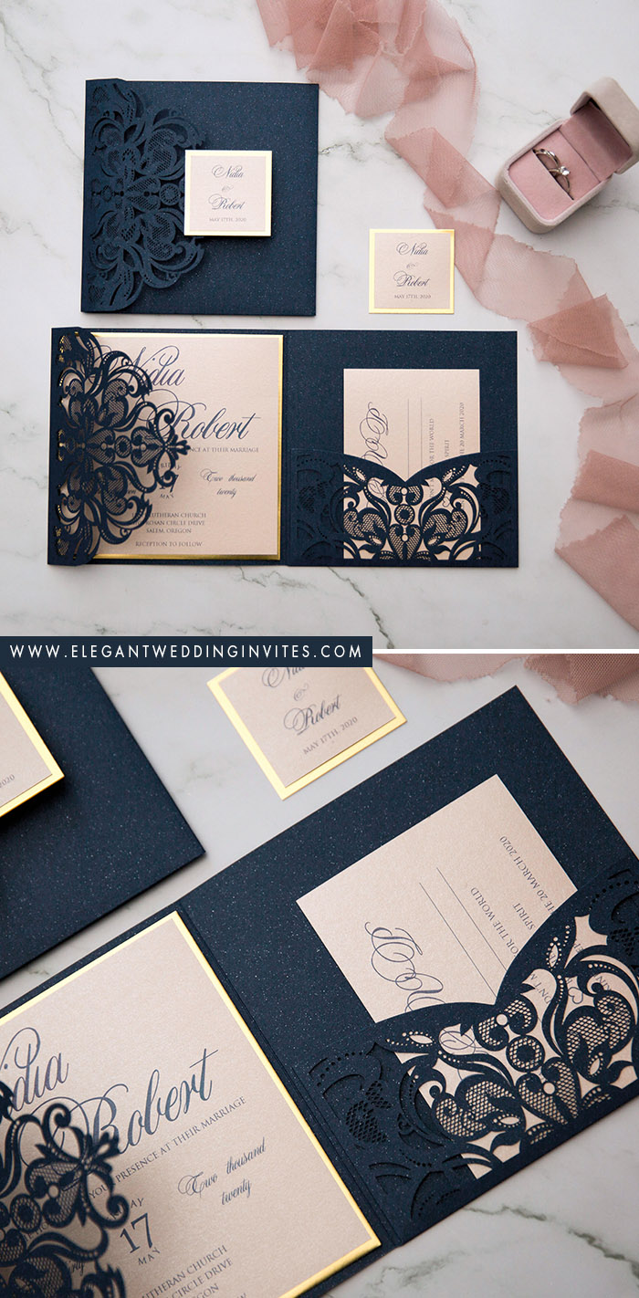 navy and dusty pink pocket laser cut wedding invitations