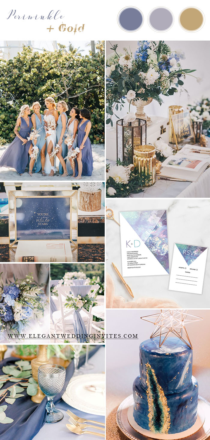 perwinkle blue and gold modern summer wedding colors