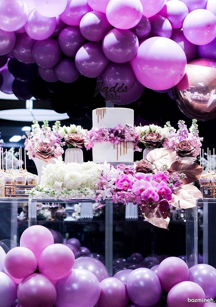 purple balloons decorated glam wedding ideas