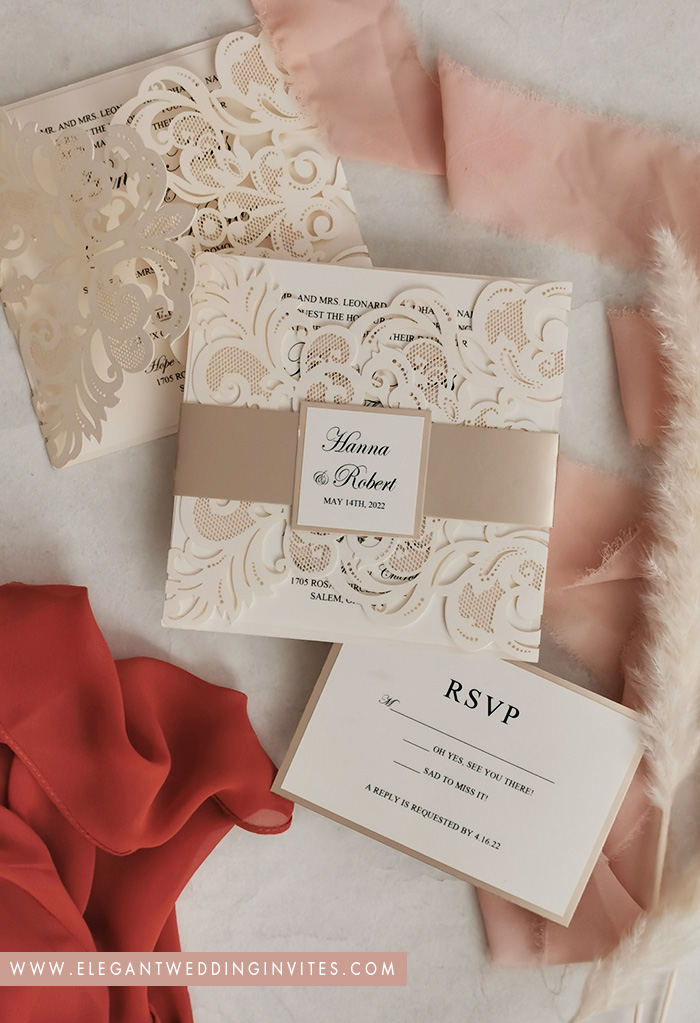 romantic neutral tone and shimmer wedding invites