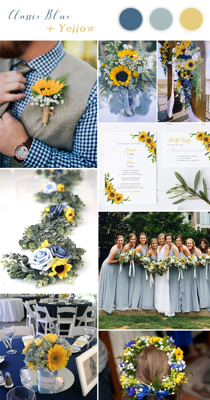 rustic chic classic blue and sunflower wedding theme