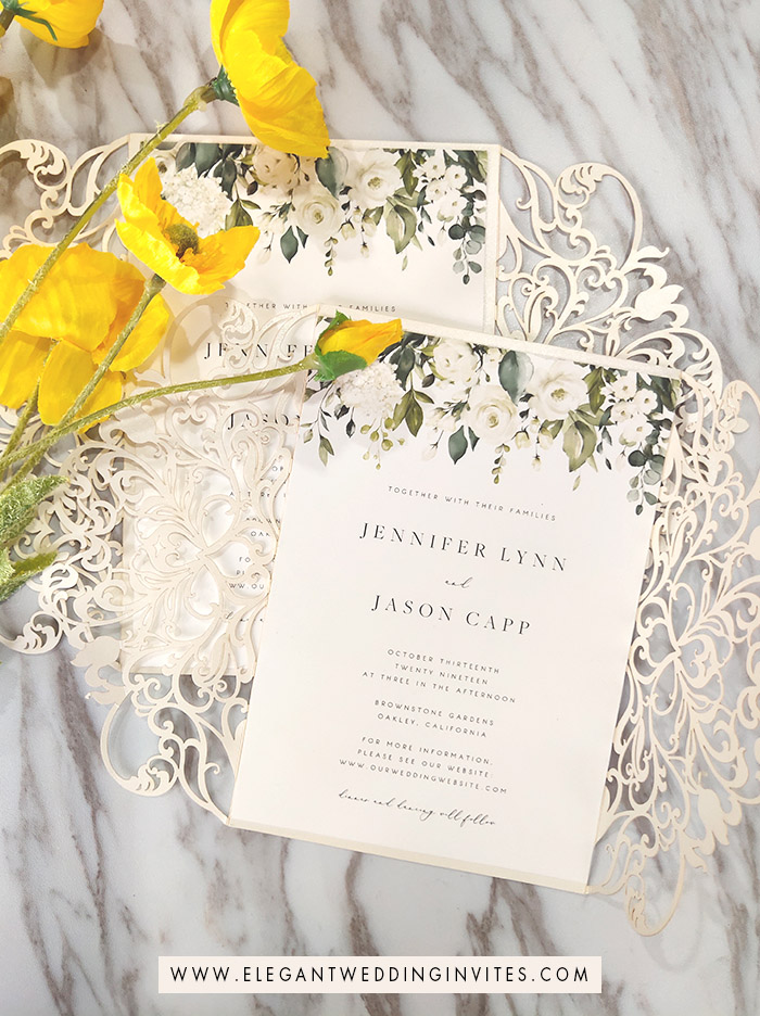 simple greenery and white wedding invites