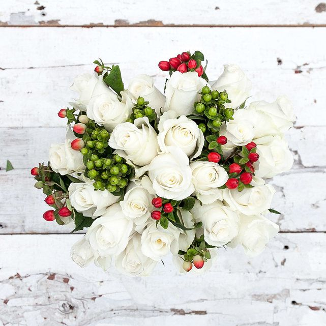 white and red rose winter wedding bouquets