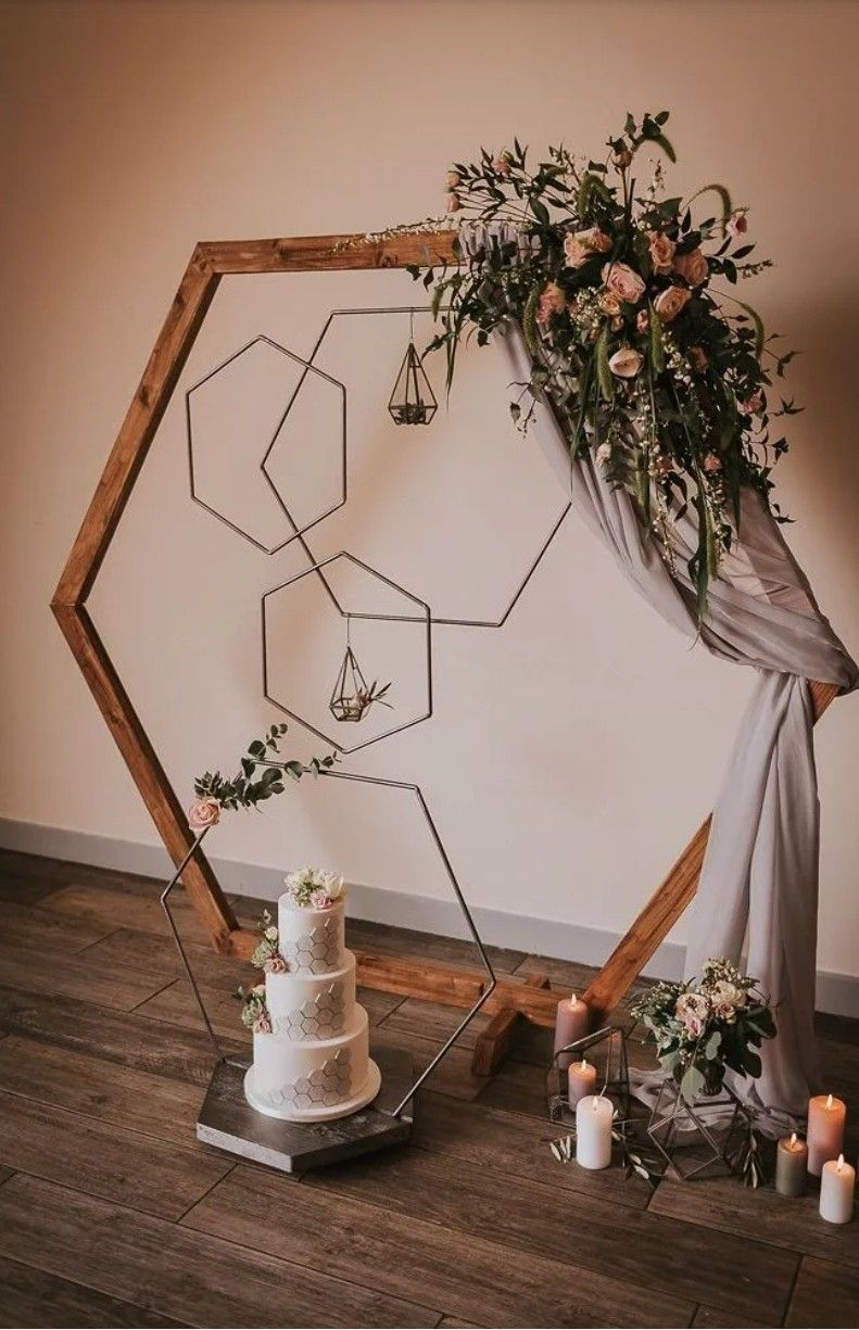 DIY hexagon wooden wedding arches with fabric