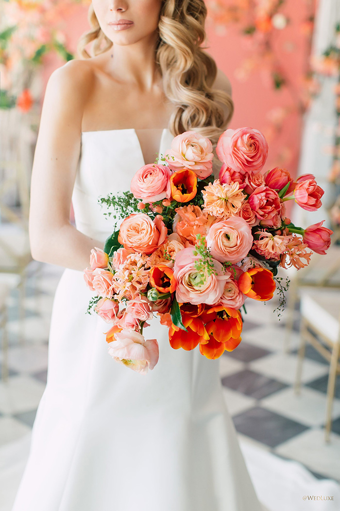 beautiful living coral bridal flower bouquets