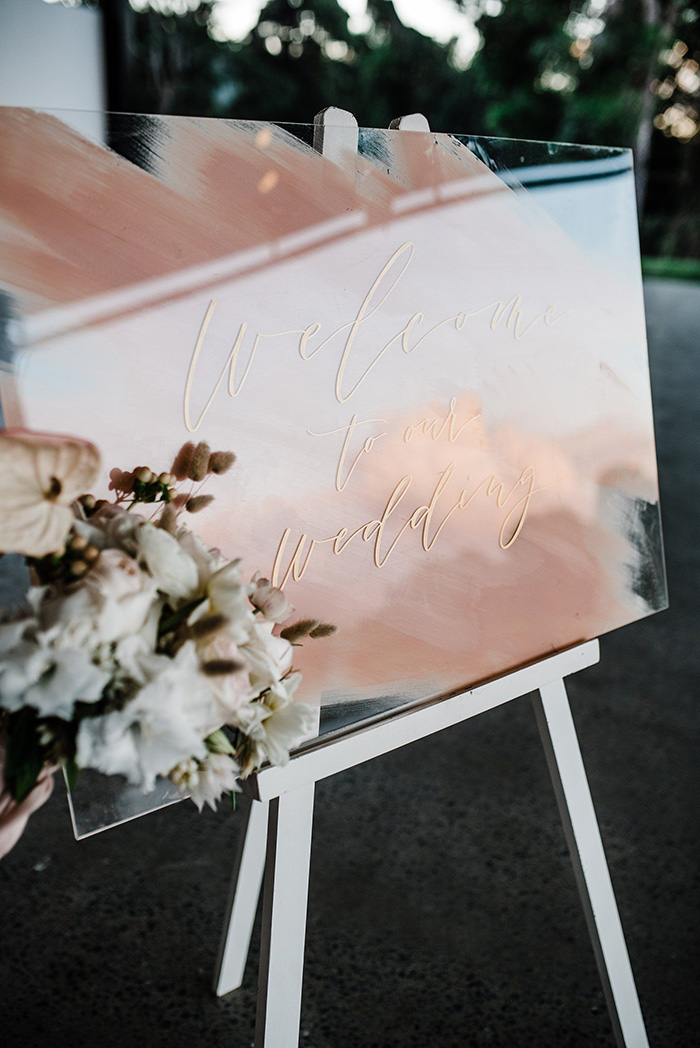 chic hand painted pink brush acrylic wedding welcome sign