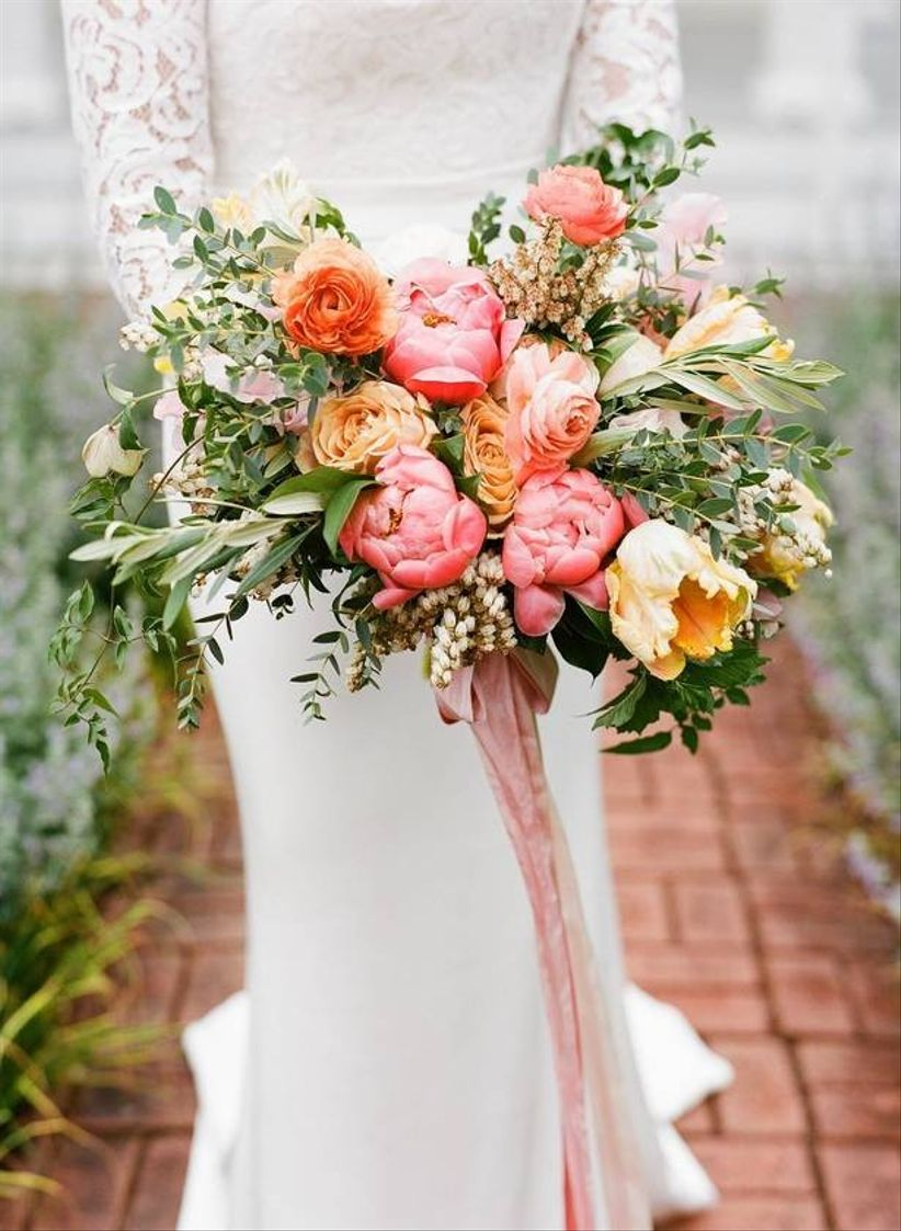 colorful coral peony wedding bouquets