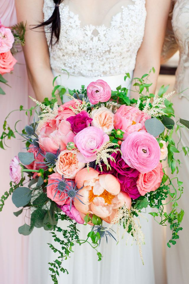 colorful organic peony flower bridal bouquets