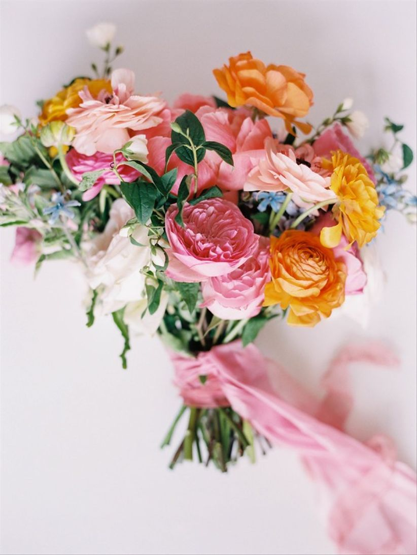 colorful pink orange and blue summer wedding bouquets