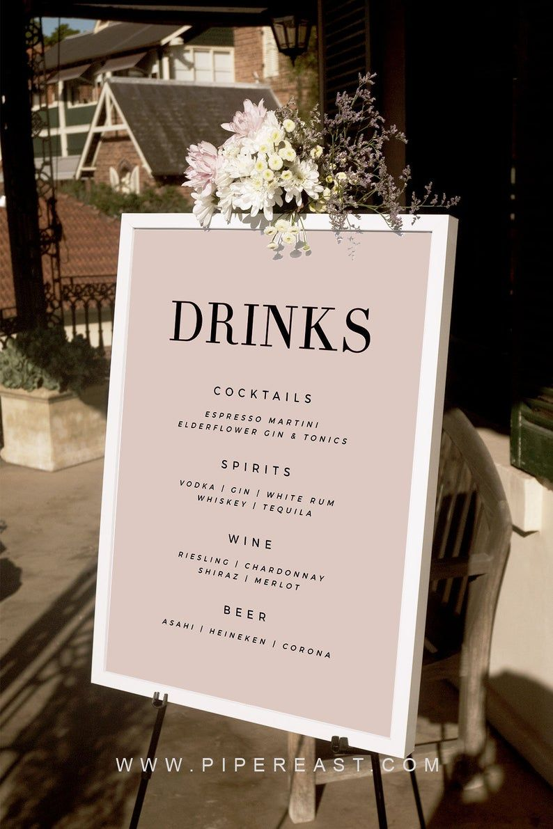 dusty pink contemporary micro wedding sign board