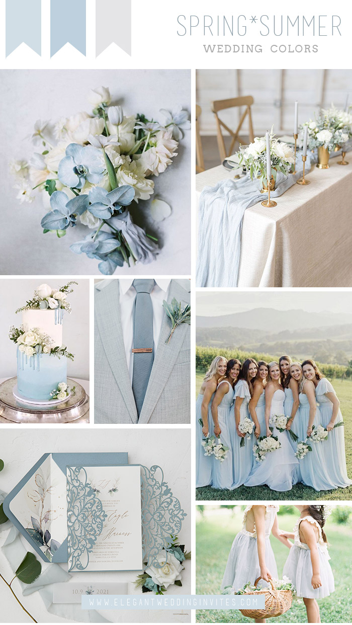 elegant and romantic light blue outdoor wedding colors