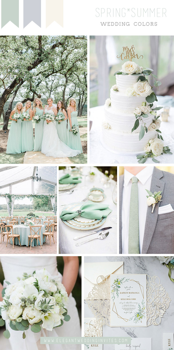 elegant mint green and white spring garden wedding color combo