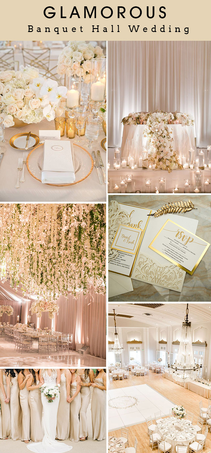 glamorous ivory and white banquet hall wedding inspiration