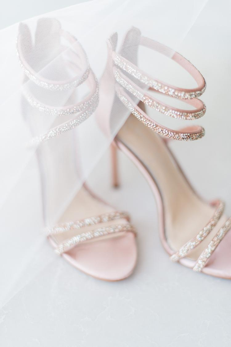 light pink wedding sandal heels with crystals