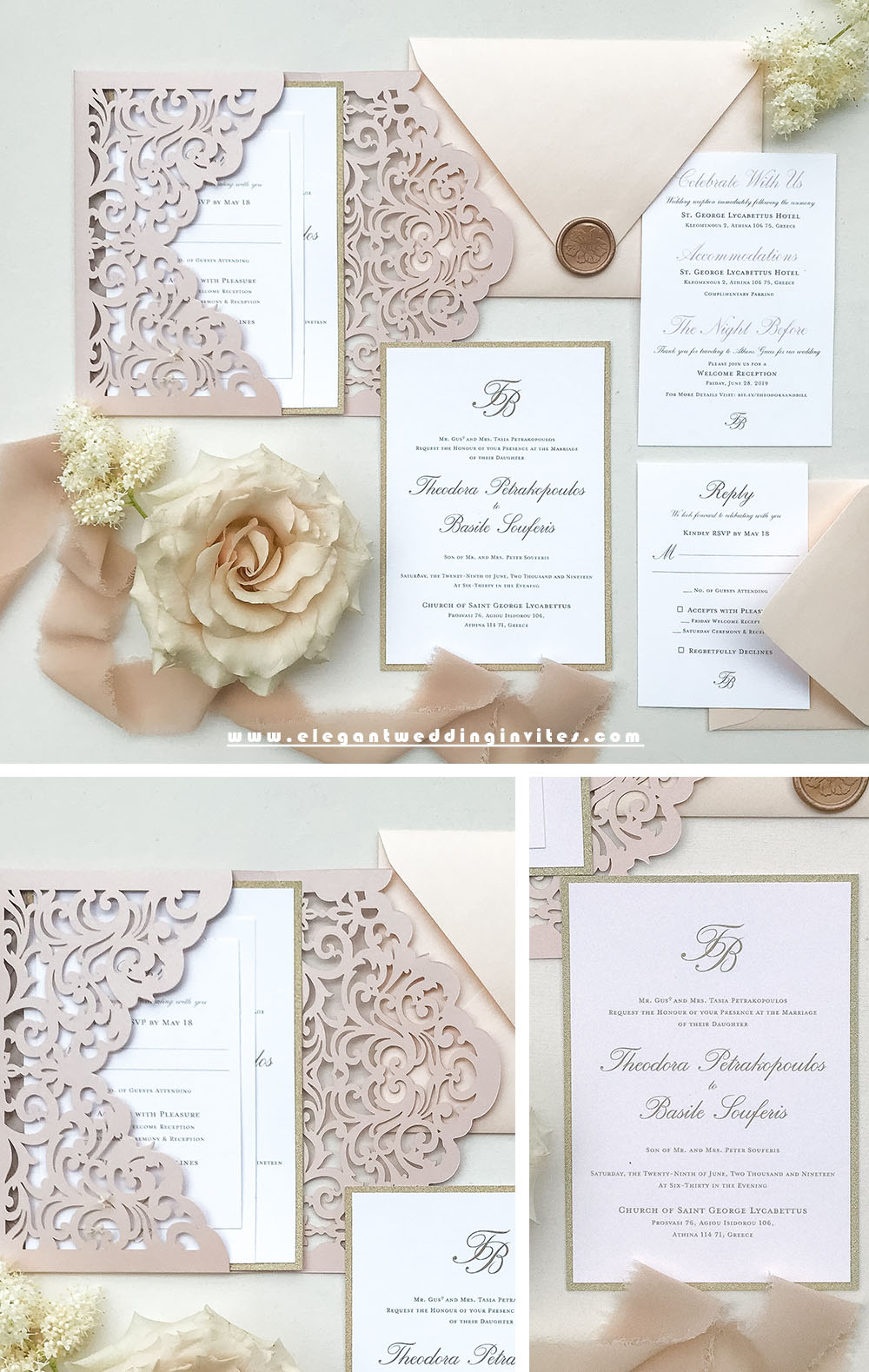 modern and simple blush pocket wedding invitations