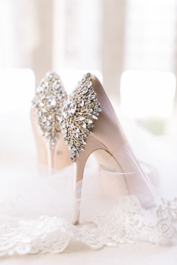 modern deluxe blush pink bridal shoes