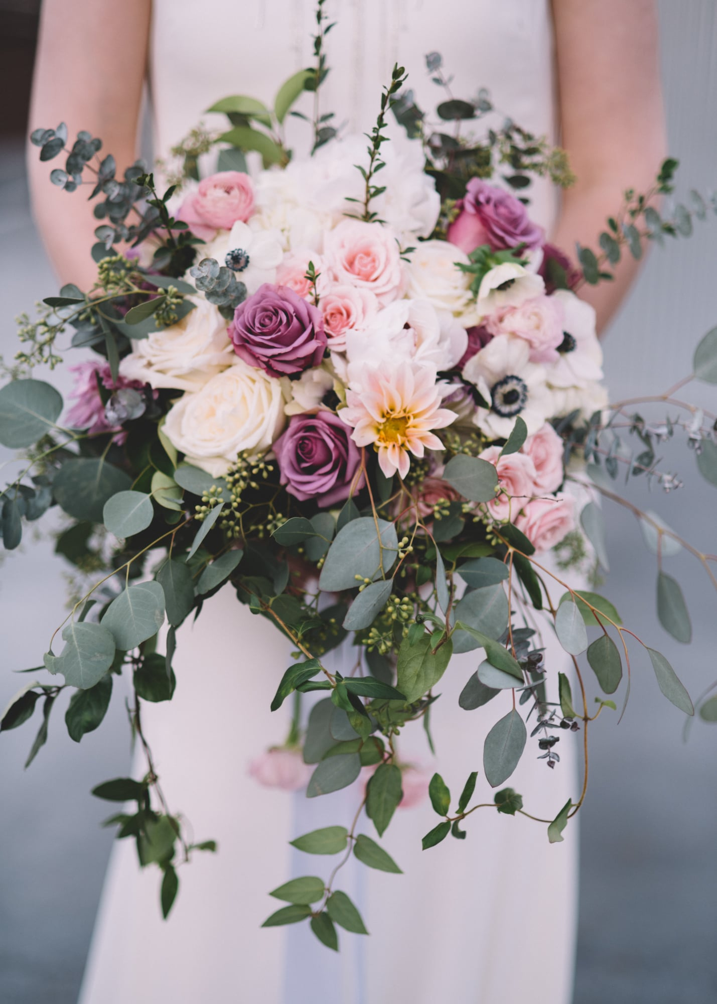 pink and purple organic flower wedding bouquets
