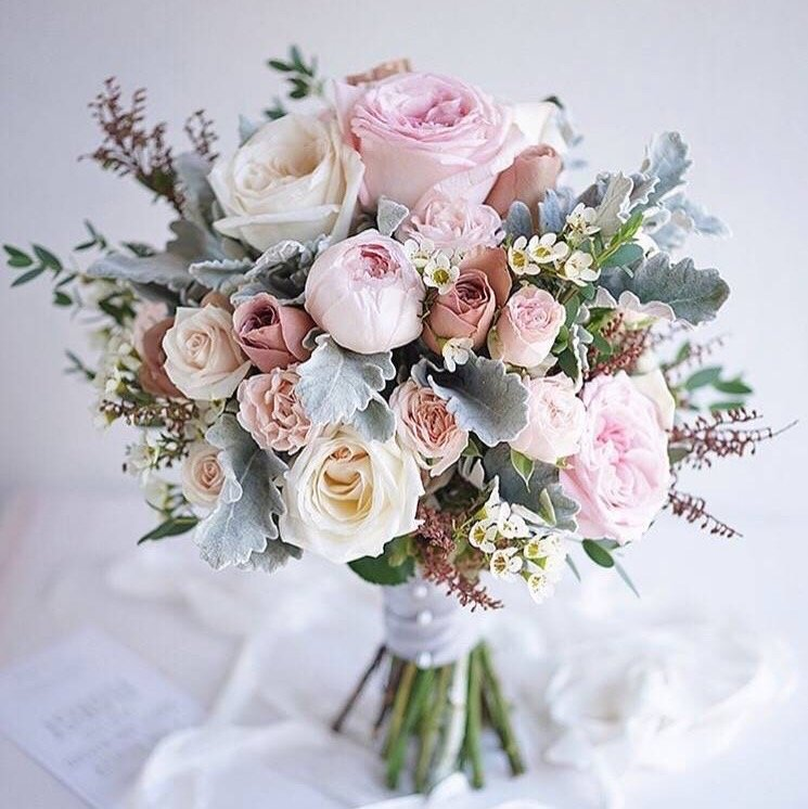 pretty pastel pink and dusty miller green wedding bouquets