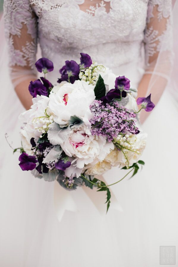 purple and white spring bridal bouquets
