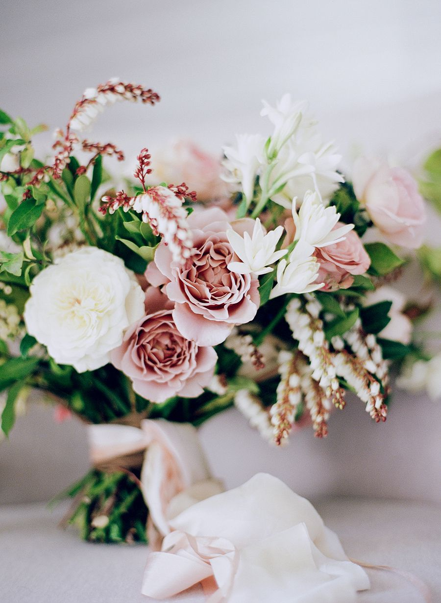 romantic dusty rose and greenery wedding bouquets