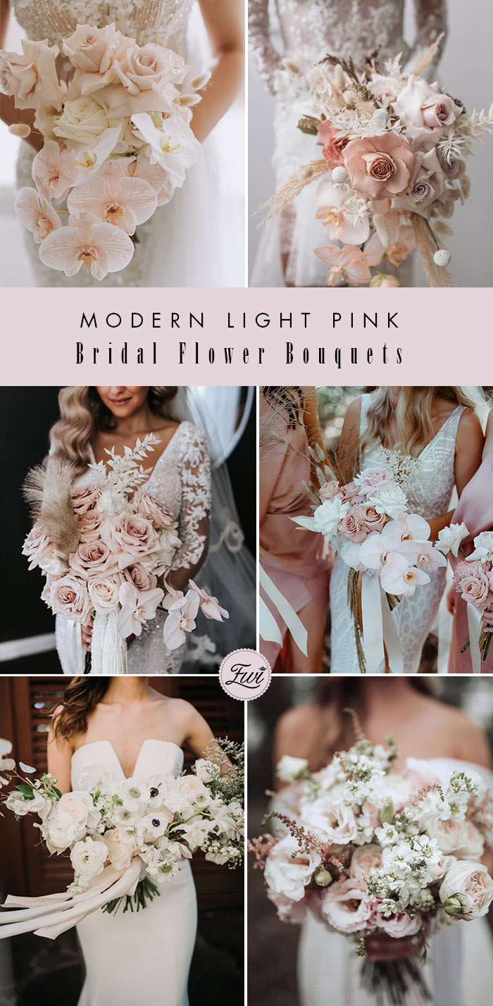 romantic light pink flowers modern bridal bouquets