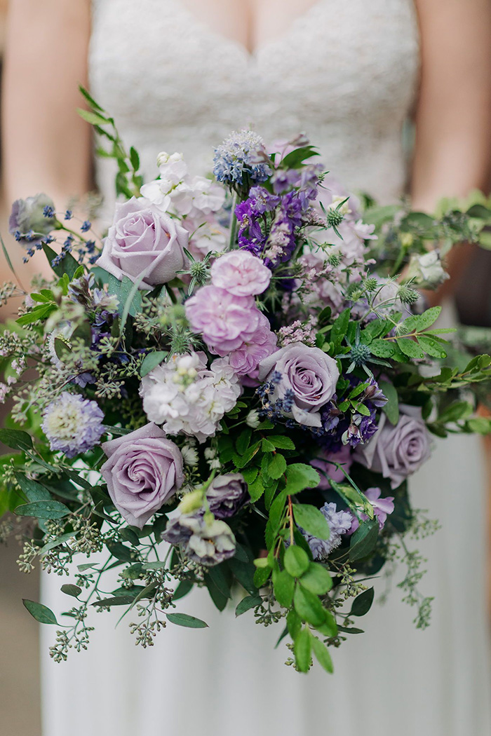 shades of purple spring wedding bouquets