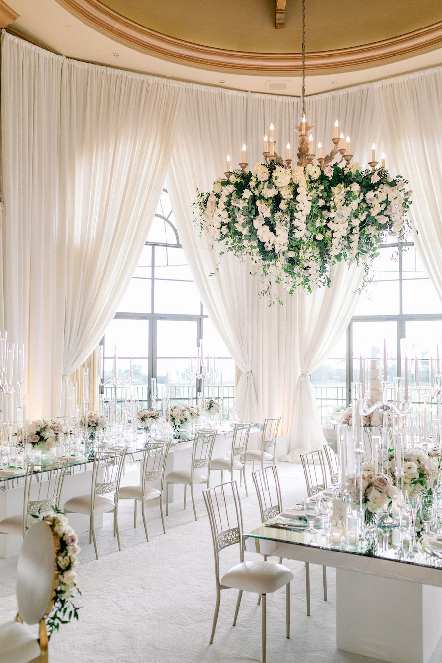 stunning modern white inside wedding reception ideas with dancing floor