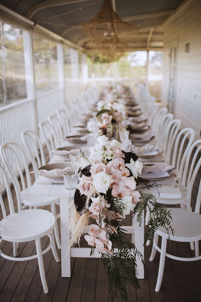 stunning pink flower small wedding table styling