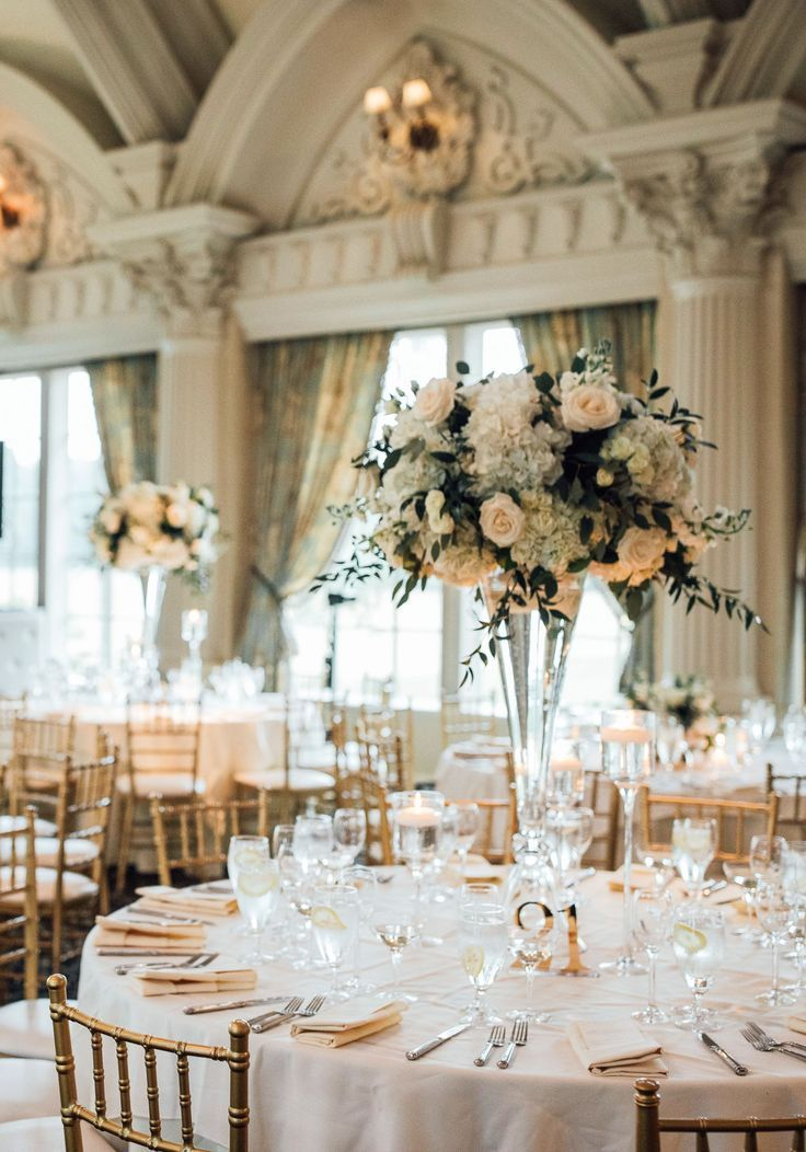 tall crystal flower wedding centerpieces for an elegant indoor wedding