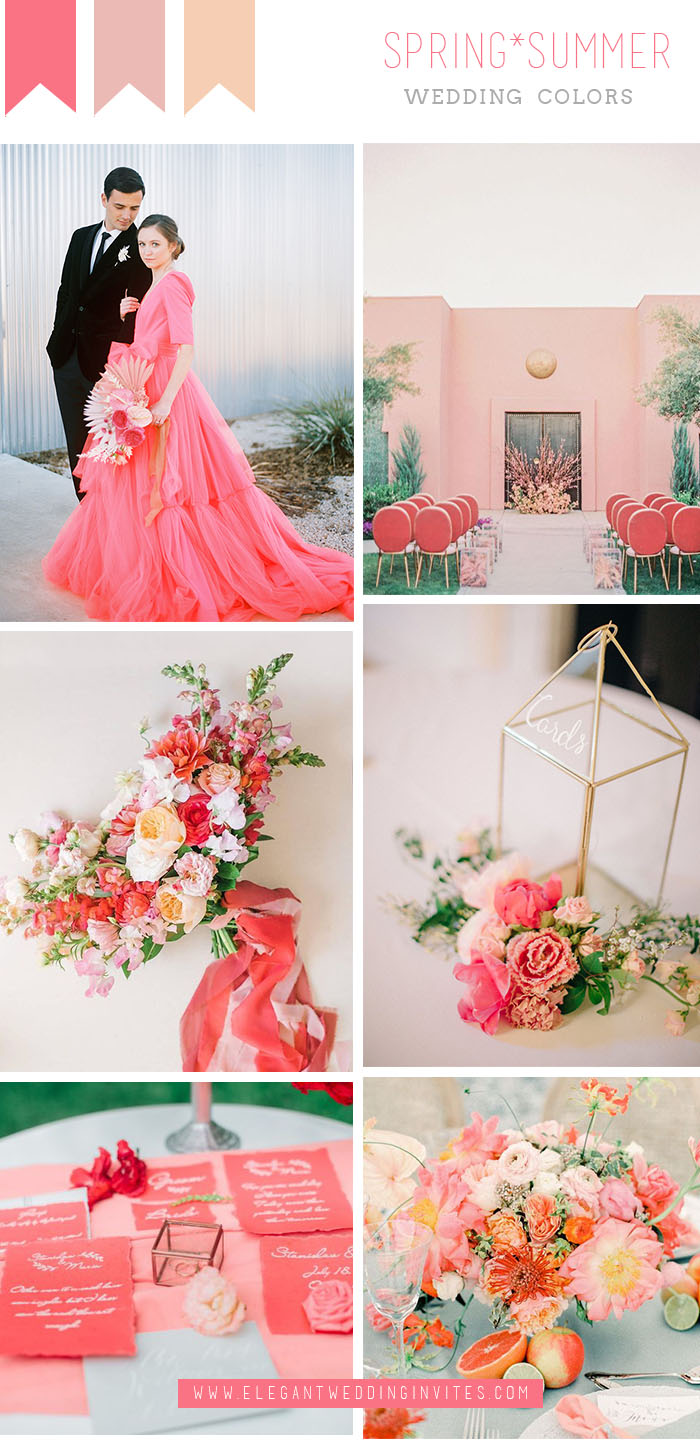 unique coral red modern chic summer wedding color ideas
