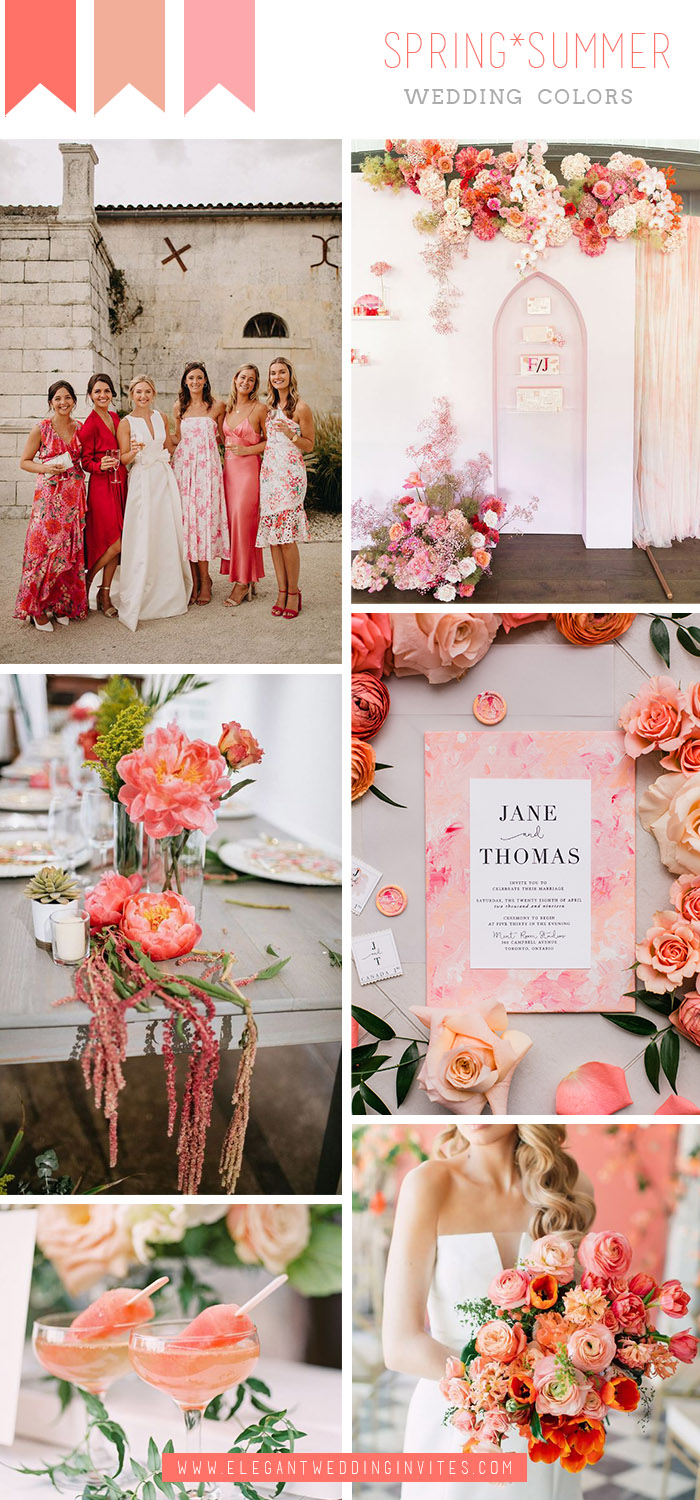vibrant coral pink summer tropical wedding colors