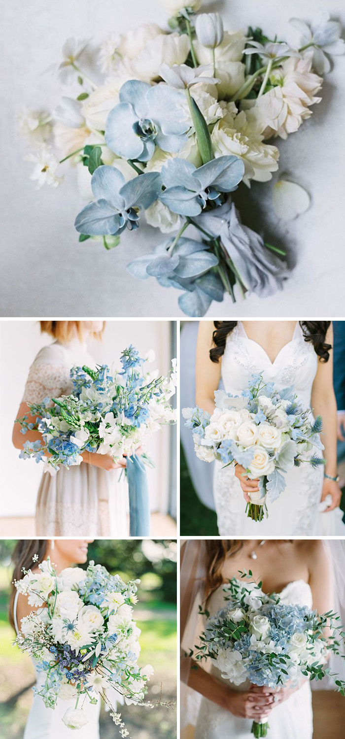white and light bluue spring wedding bouques ideas