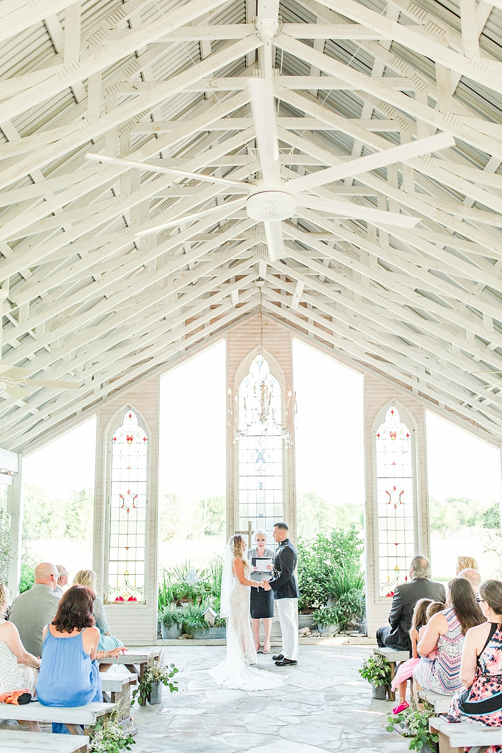 a summer chapel wedding ceremony at Gruene estate