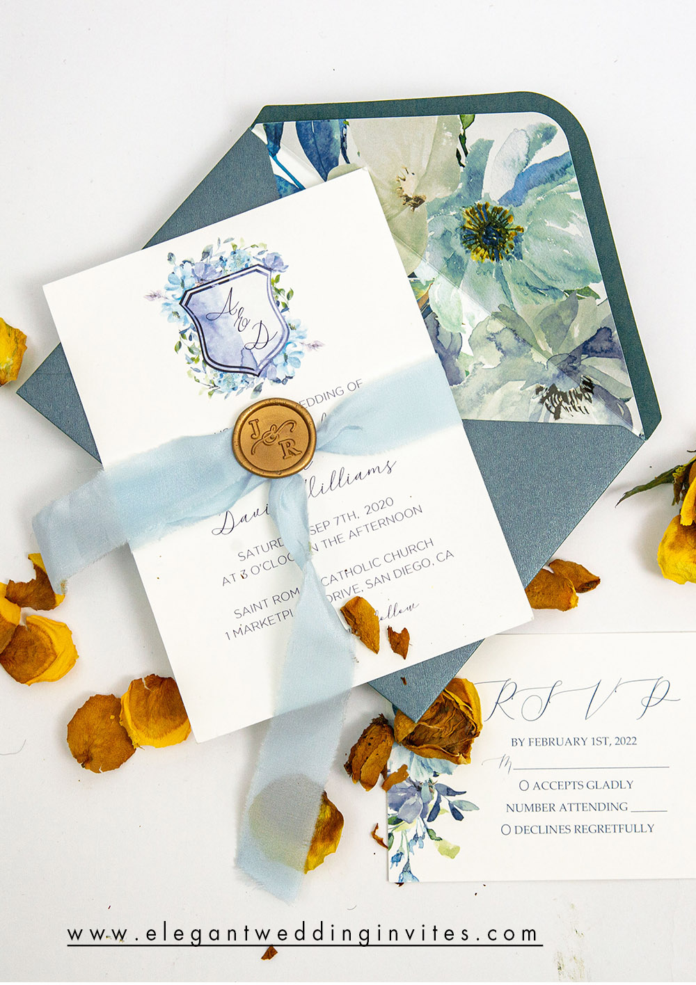 affordable dusty blue wedding invitation card with ribbon and wax seal