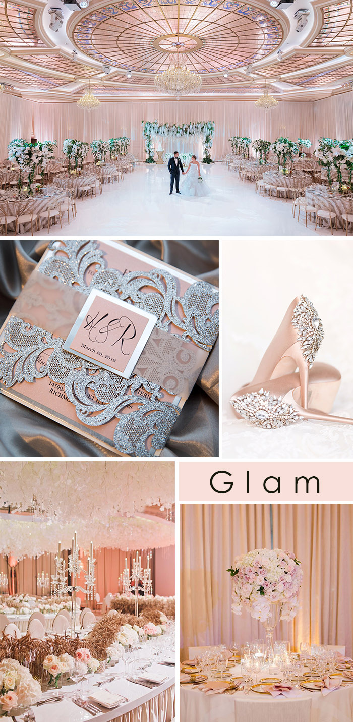 blush and glittery glam banquet hall wedding with invitation ideas