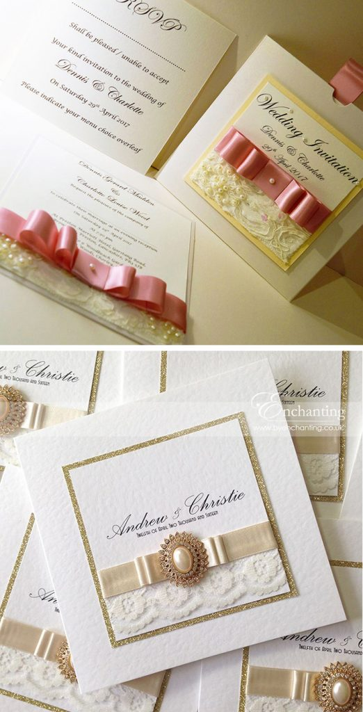 diy wedding invitations with ribbon and lace