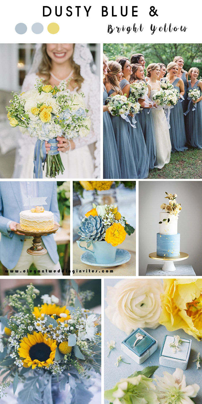 dusty blue and bright yellow summer wedding color palette