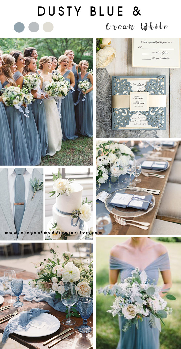 dusty blue and cream white elegant rustic chic wedding colors