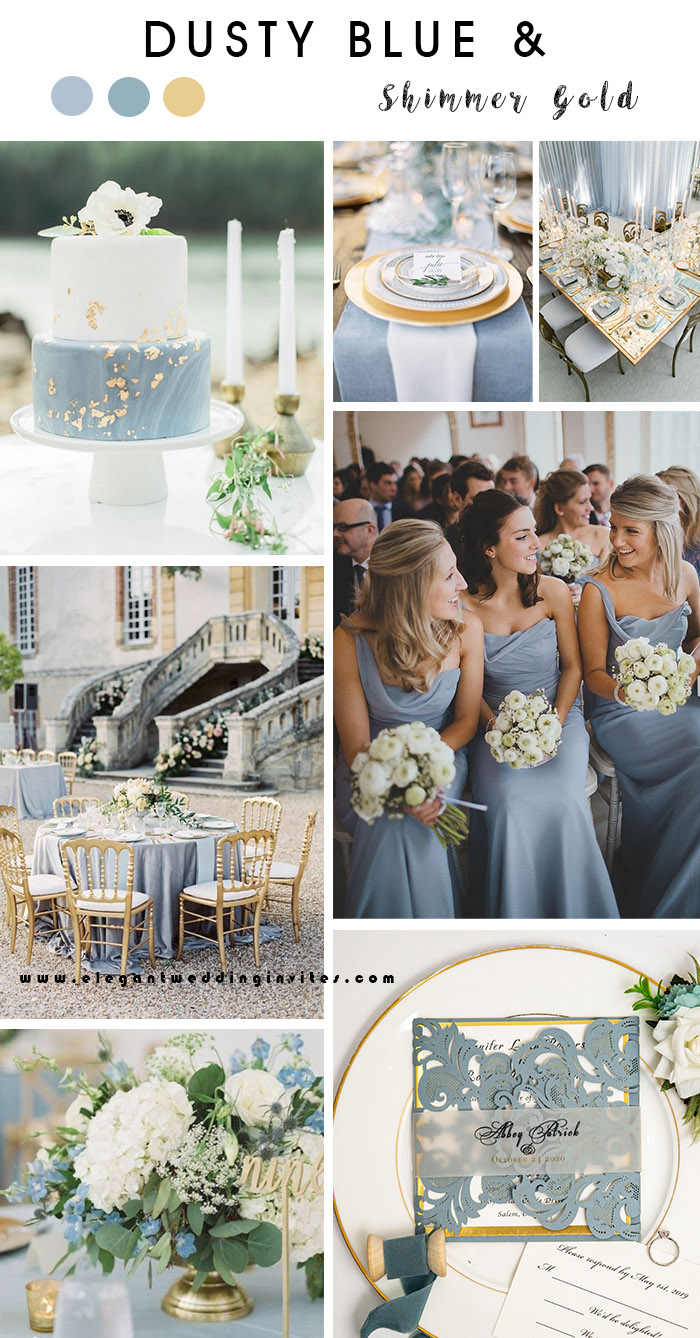 dusty blue and shimmer gold elegant wedding color ideas