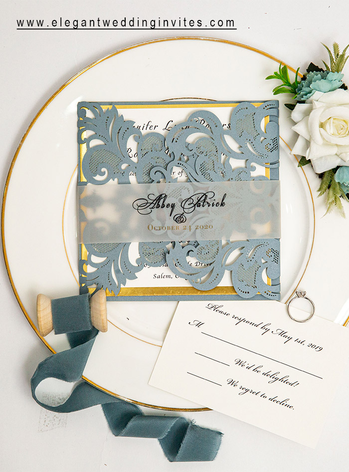 dusty blue and shimmer gold modern wedding invitation