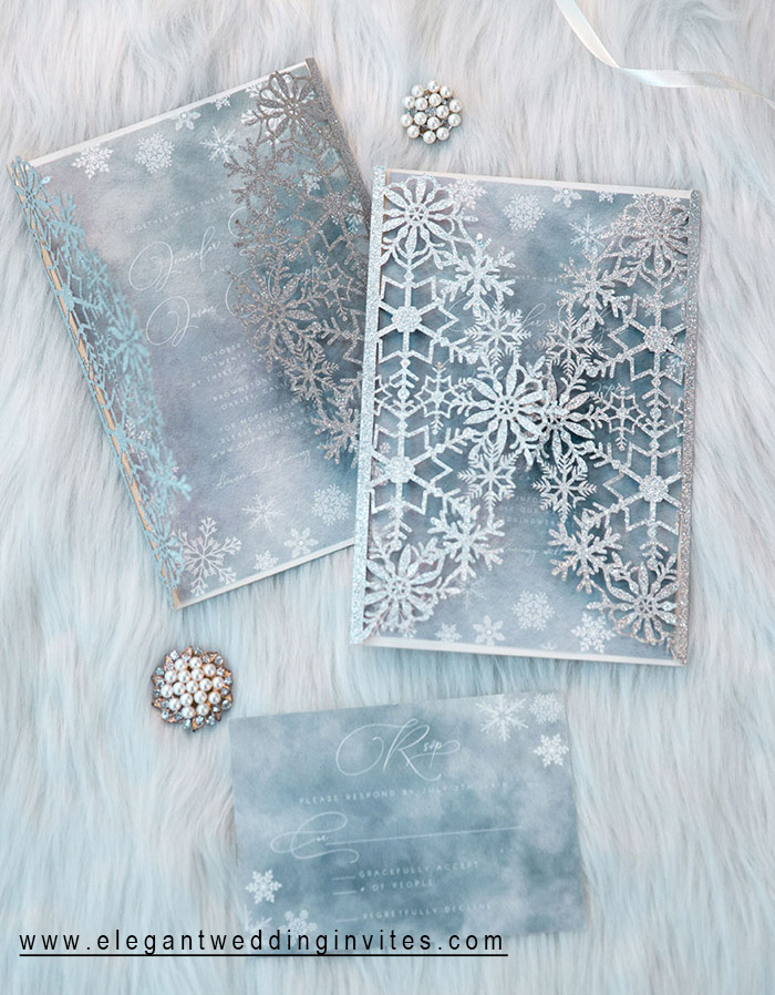 dusty blue and silver snowflake winter wedding invites