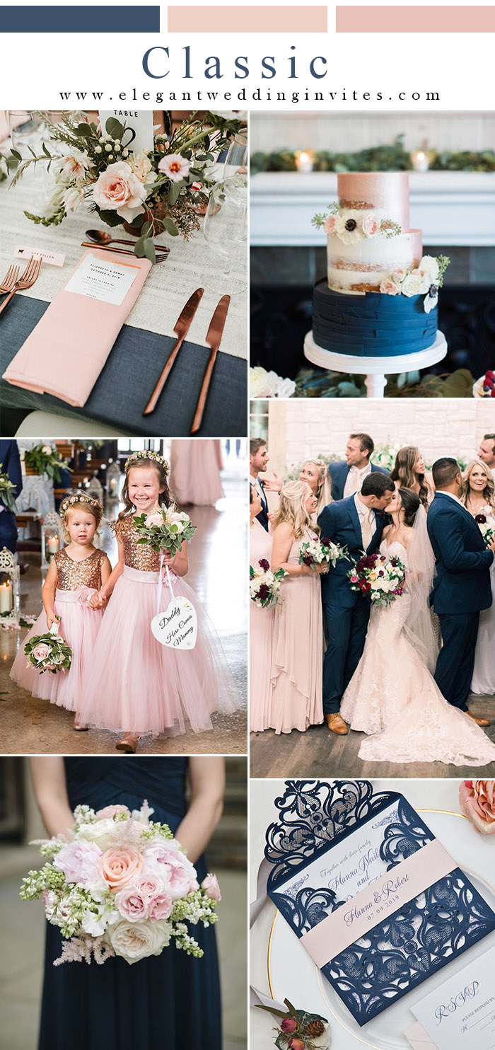 elegant classic blue and blush pink classic wedding style ideas